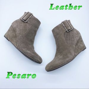 Pesaro-Leather Dark Taupe Buckle Wedge Bootie 8